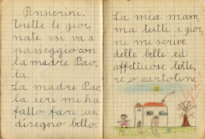 Scrittura su quaderno del 1965