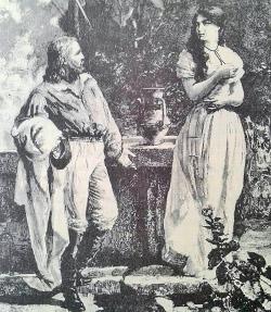 Primo incontro di Anita e Garibaldi in un'incisione di E. Matania dal libro Anita una grande storia d'amore di Giovanni Gagliozzi foto di I. Marchi