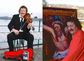 Luciano Lutring una custodia di violino con mitra e pennelli