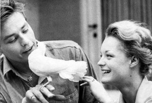 Romy Schneider con Alain Delon