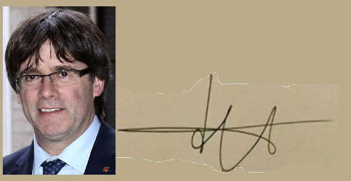Carles Puigdemont, firma