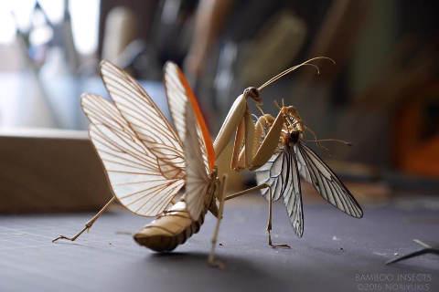 Artisti giapponesi Noriyuki Saitoh insetti di bambu mantide