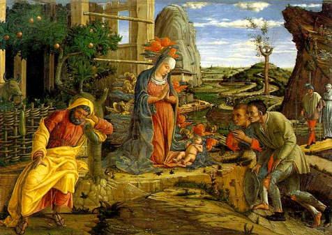 Opere della Storia dell'arte sulla Natività: Adorazione dei pastori di Andrea Mantegna