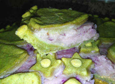 Crostata Integrale di Cipolle Rosse con Brisée al Pesto, fetta