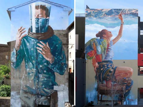 Fintan Magee murales di Aquapendente - Between two words