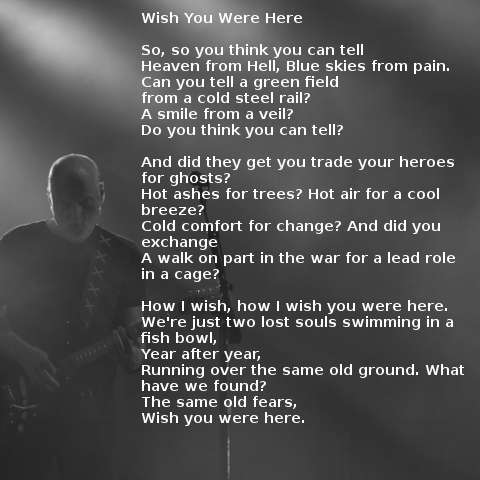 Testo della canzone Wish You Were Here dei Pink Floyd
