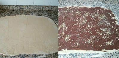 Angelica di farro integrale con crema cacao amaro steso