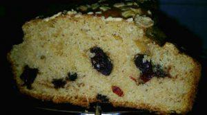 Plumcake proteico integrale all'acqua con gocce di cioccolato e con mirtilli 1