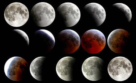 Eclissi Super Luna Blu fasi