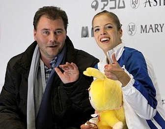 Carolina Kostner con allenatore Michael Huth