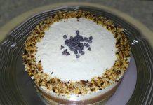 Torta fredda con cocco cioccolato extra fondente e rhum senza zucchero e pochi grassi