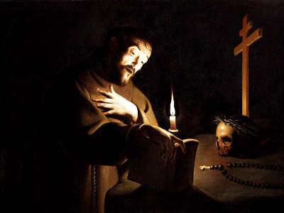 Trophime Bigot , il maestro della candela, san francesco in preghiera 2