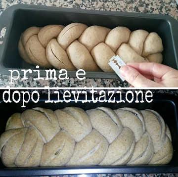 Treccia integrale plumcake con olive verdi, la lievitazione
