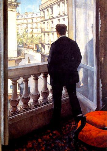 Due quadri di Gustave Caillebotte: Giovane alla finestra