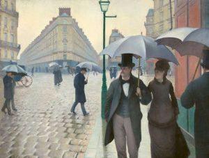 Due quadri di Gustave Caillebotte: Strada di Parigi in un giorno di pioggia