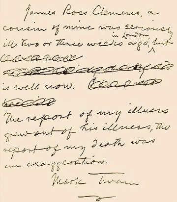 Lettera del maggio 1897, Analisi grafologica diMark Twain