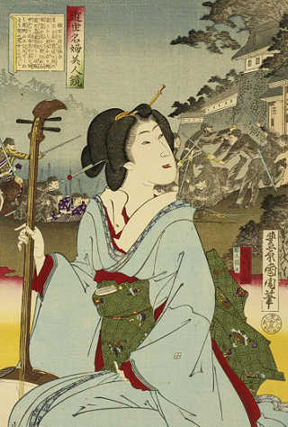 Geisha in un ritratto di Toyohara Kunichika