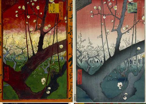 Van Gogh Susino in fiore e Hiroshige Giardino di Kameido