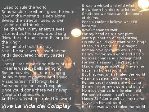 lyrics Viva La Vida dei Coldplay testo