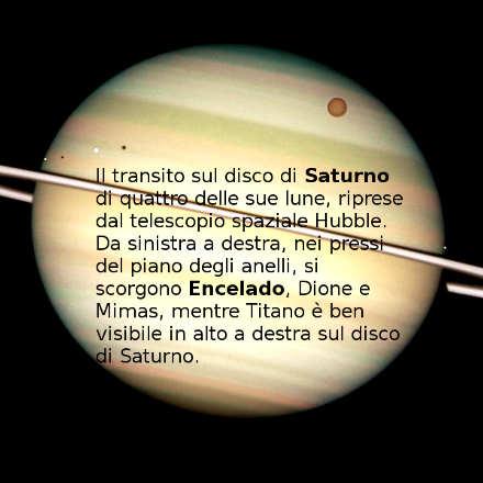 Saturno e Encelado con le sue altre tre lune