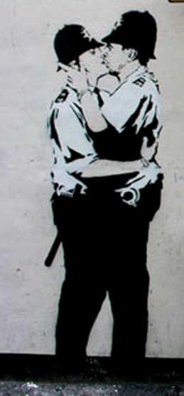 a Banksy Kissing PolicemenKissing Policemen