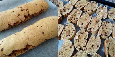 Preparazione e taglio dei Cantucci al cioccolato integrali con nocciole e arancia