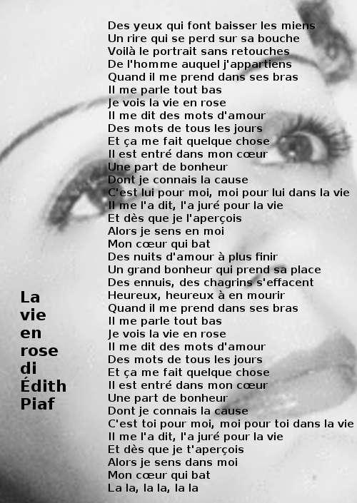 ll testo di La vie en rose di Édith Piaf