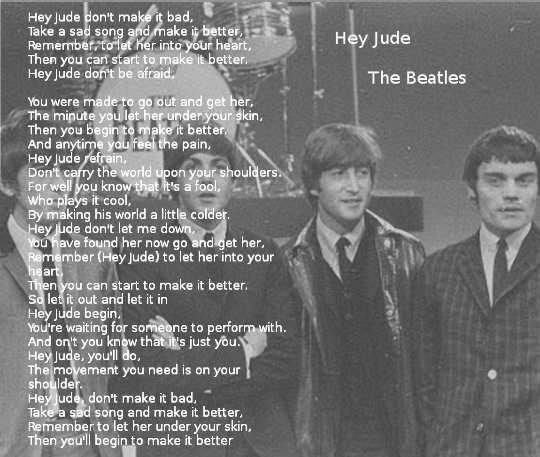 testo di Hey Jude The Beatles