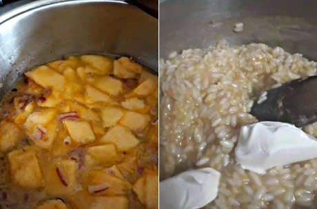Preparazione del Risotto alla zucca cremoso con Parmigiano in cialde
