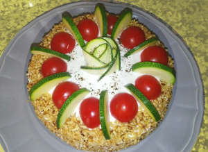 Il Tortino integrale salato di zucchine e pomodori secchi a