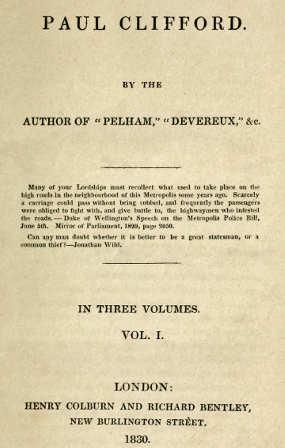 Libro Paul Clifford, Edward Bulwer-Lytton