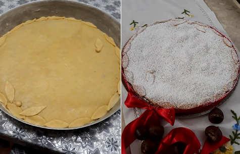Preparazione Ricetta Crostata con crema di castagne, ricotta e cioccolato 2