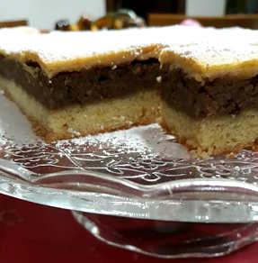 Fetta, Ricetta Crostata con crema di castagne, ricotta e cioccolato