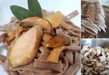 Tagliatelle con farina di castagne e funghi porcini