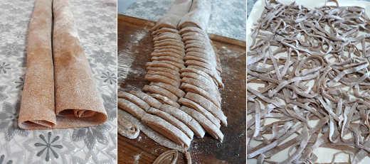 Preparazione Tagliatelle con farina di castagne e funghi porcini 3 a