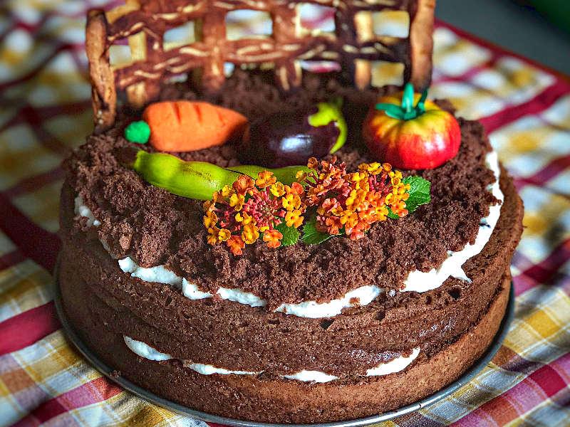 Torta al cioccolato senza burro con crema al mascarpone