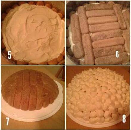 Preparazione, lo Zuccotto con savoiardi e crema tiramisù