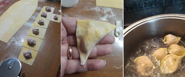 Preparazione Cappelletti con ricotta e cotechino su vellutata di lenticchie