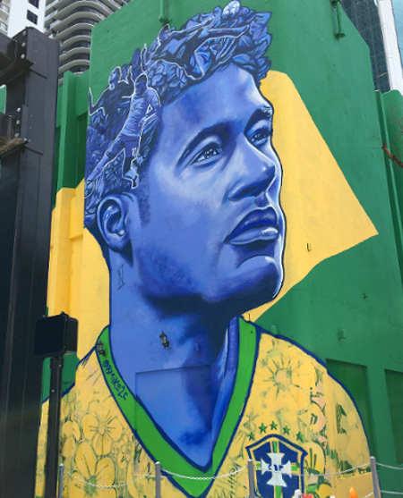 Murales di Neymar in Brickell a Miami dell'artista di New Orleans Brandan Odums