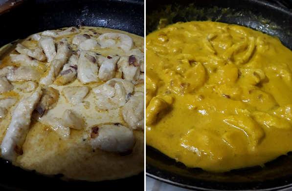 Preparazione Pollo per Riso rosso integrale in insalata con pollo al curry