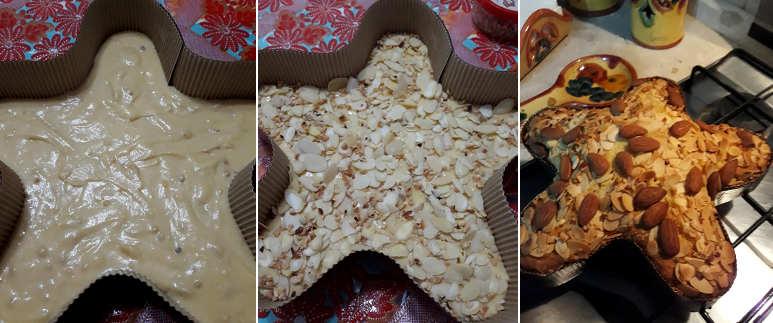 Preparazione Stella di Natale ricetta semplice con mandorle e nocciole