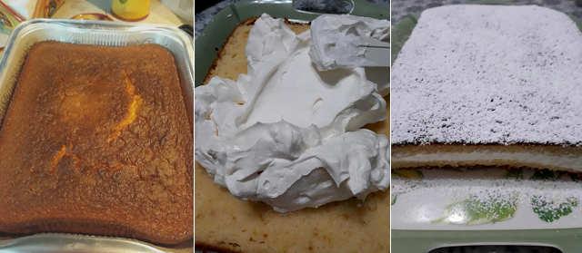 Preparazione Torta Paradiso senza burro farcita con crema al latte