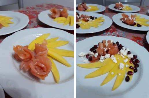 Preparazione Antipasto veloce con salmone affumicato mango e melograno