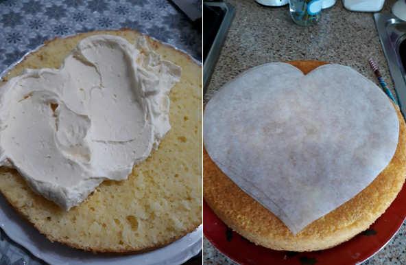 Preparazione Torta a forma di cuore alle creme una torta anniversario fatta in casa