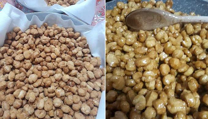Preparazione ricetta delle Struffoli o Pignolata al miele di Carnevale 2