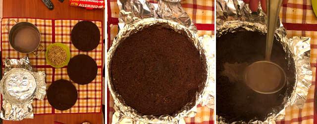 Preparazione Torta con bagna al cioccolato e liquore all'arancia