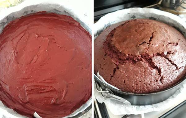 Preparazione Red Velvet con frosting e panna