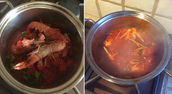 Preparazione Spaghetti agli scampi senza glutine