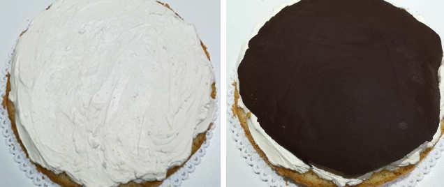 Preparazione Torta di compleanno con cioccolato fondente e crema al mascarpone