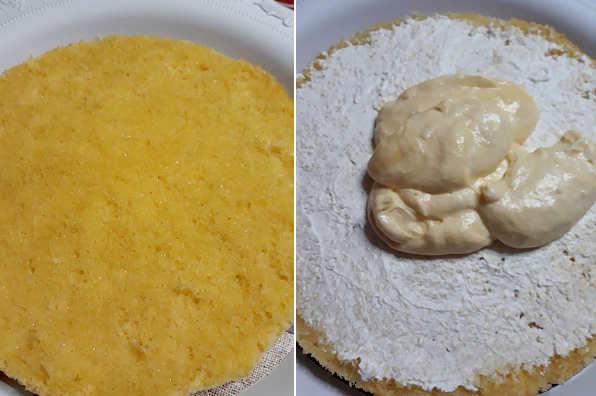 Farcitura Torta mimosa delicata con crema pasticcera e bagna al mandarino